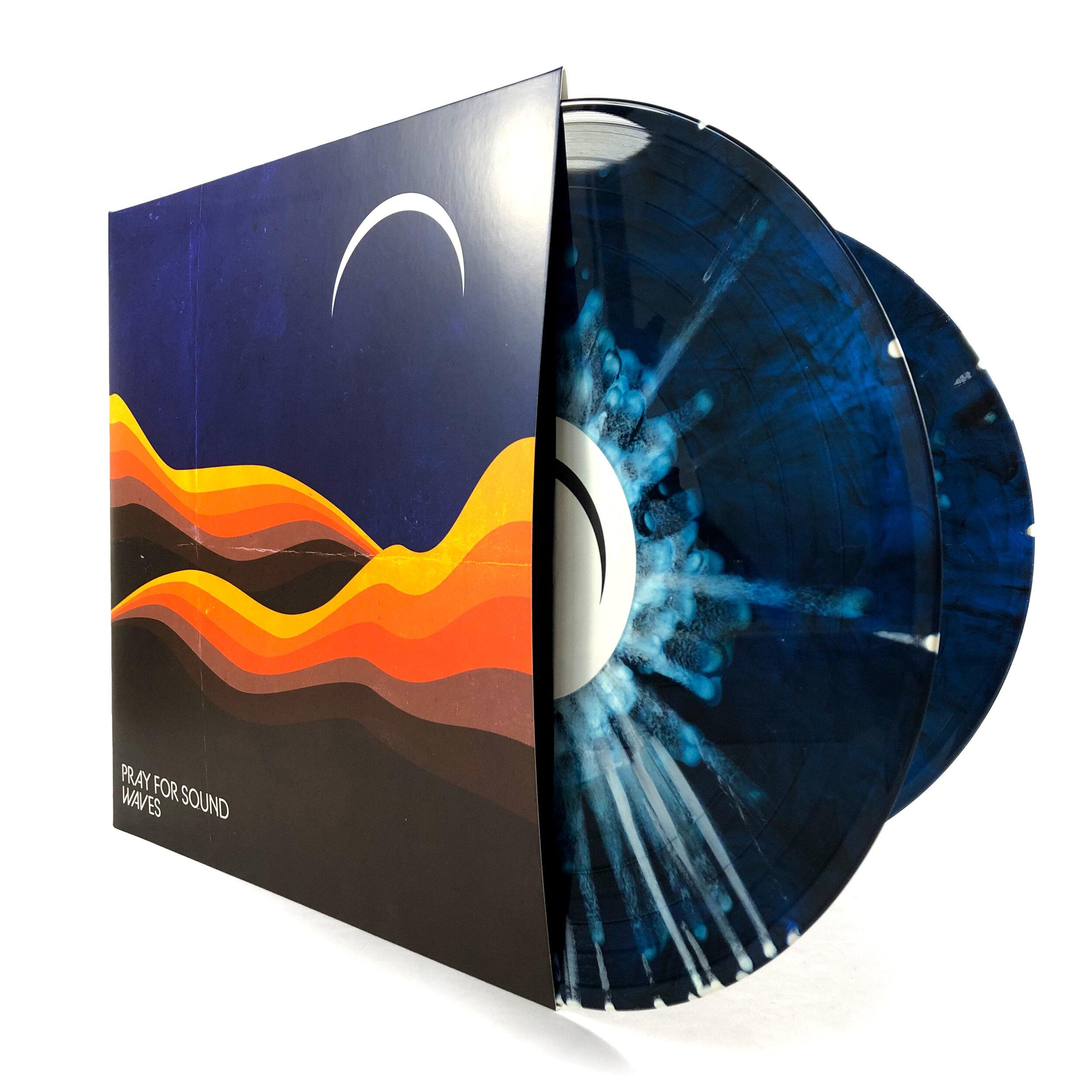 Pray For Sound • Waves [2xLP] - Double colored 180g vinyl Transparent Blue/Black Marble w/ White Splatter