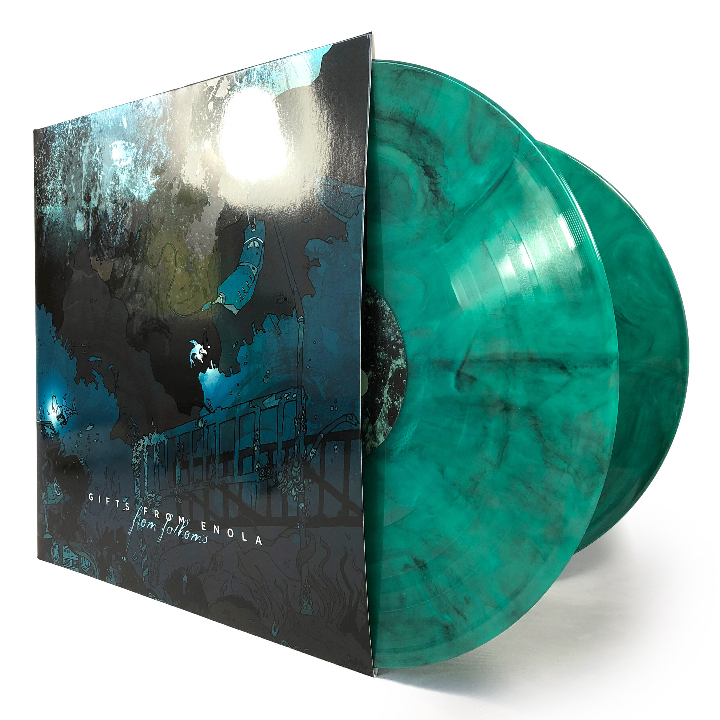 Gifts From Enola • From Fathoms - Comes on 180g colored vinyl (green with black smoke) in gatefold cover with spot UV