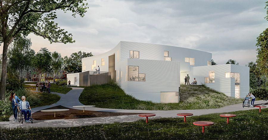 Model of the new barrier-free center in Kníničky