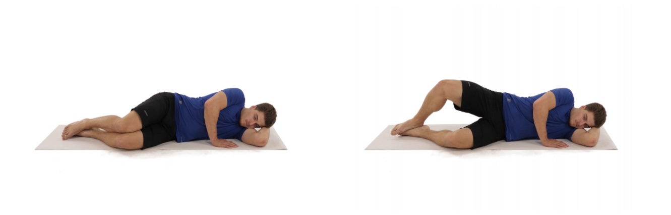 Lie on your side with both legs slightly bent. Lift your top leg, keeping your pelvis stable, your leg slightly bent and your heels together. Rotate your hip so that your foot and your kneecap are pointing upward during the movement. Return to the initial position and repeat.