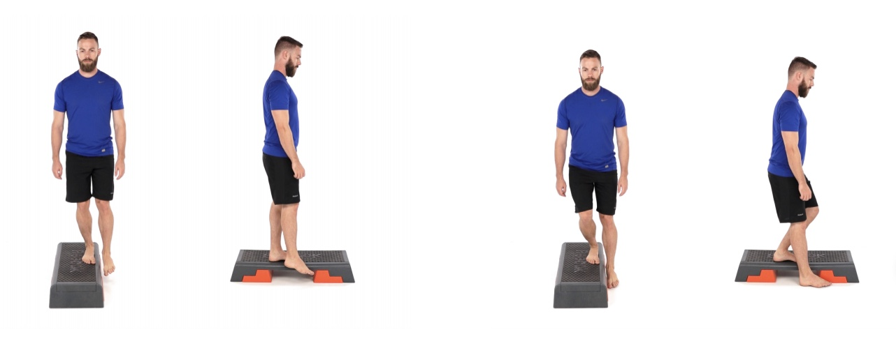 Place the involved leg on the edge of a step. Bend the knee to lower the free foot to the ground, without putting any weight on it on the floor. To make sure you're not pushing with your free foot, raise the toes up when on the floor. Keep the kneecap in line with your 2nd toe. Straighten your leg and return to the starting position. Your heel should not lift.