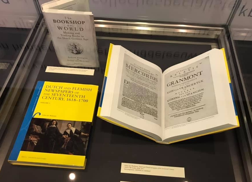 on display at the ceremony - The Royal Library copies of Dutch and Flemish Newspapers, and the more recent Bookshop of the World.