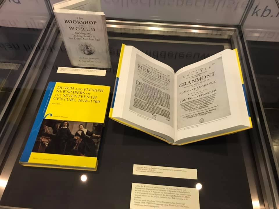 on display at the ceremony - The Royal Library copies of Dutch and Flemish Newspapers, and of The Bookshop of the World
