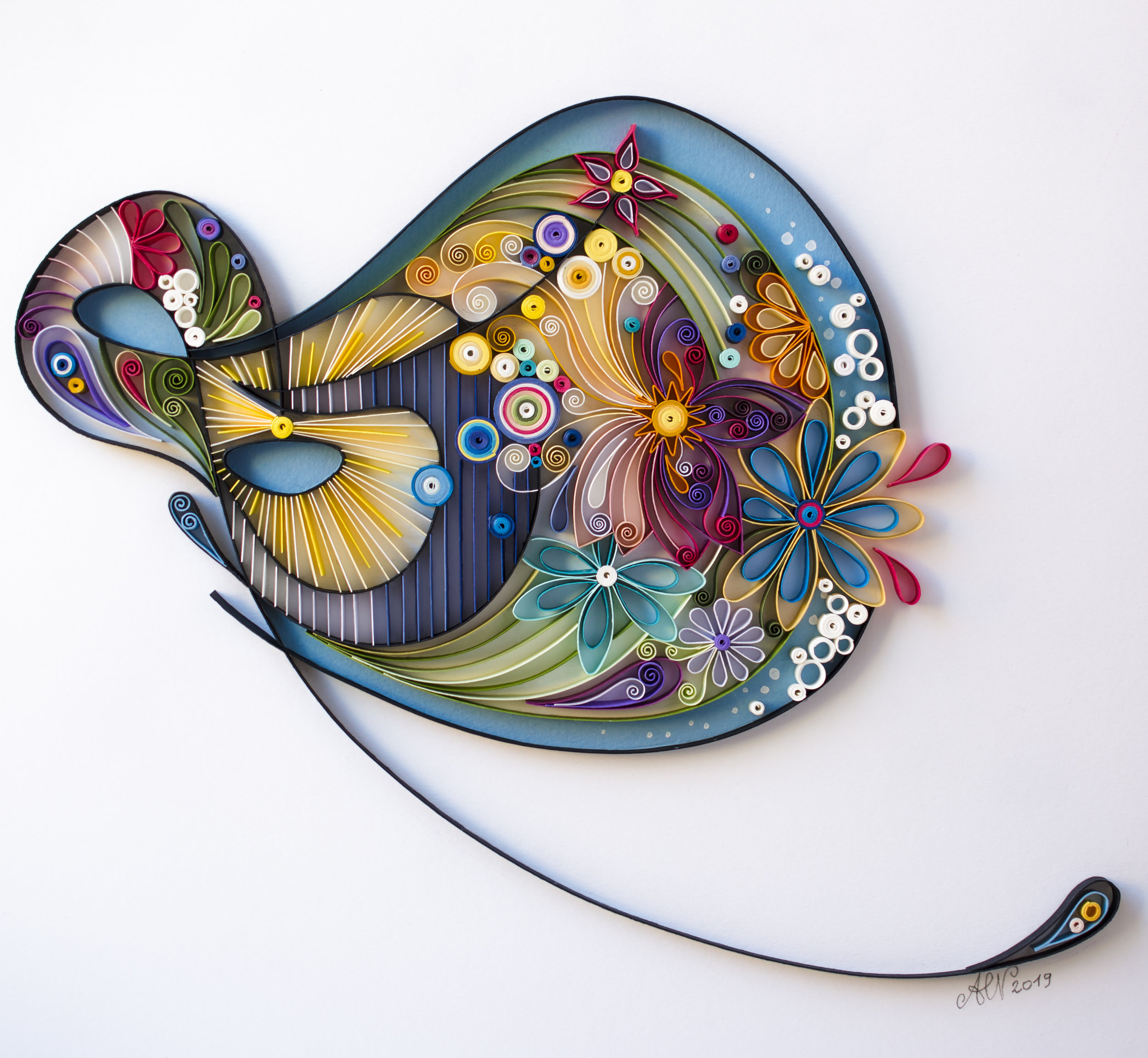Reflections By Anna Chiara Valentini, based on the name of Majid's painting  Quilling Art 30 X 30 cm