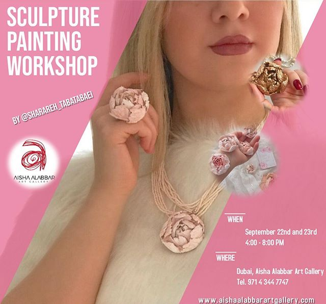"The first ""Sculpture Painting"" workshop at Aisha Alabbar Art Gallery for more details send us an email to info@aishaalabbarartgallery.com or call 0544426598 #workshop #sculpture_painting #art #miniature_flowers #dubai #mydubai #artist #decorative"