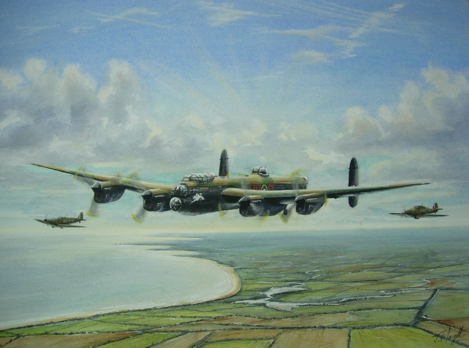 Battle of Britain Memorial Flight Formation painted in watercolours.jpg