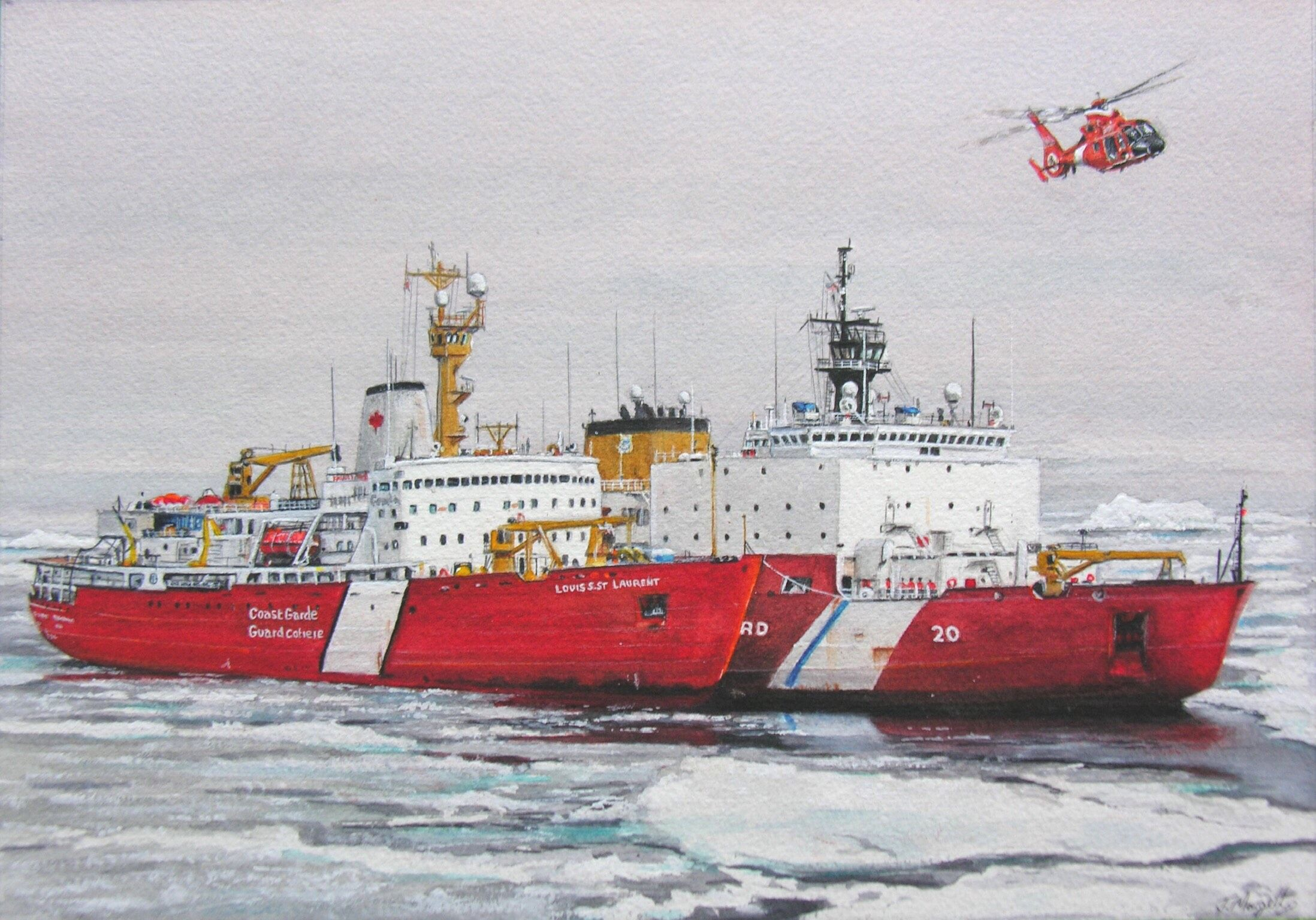 Louis S St.Laurent and USCGC Healey.jpg