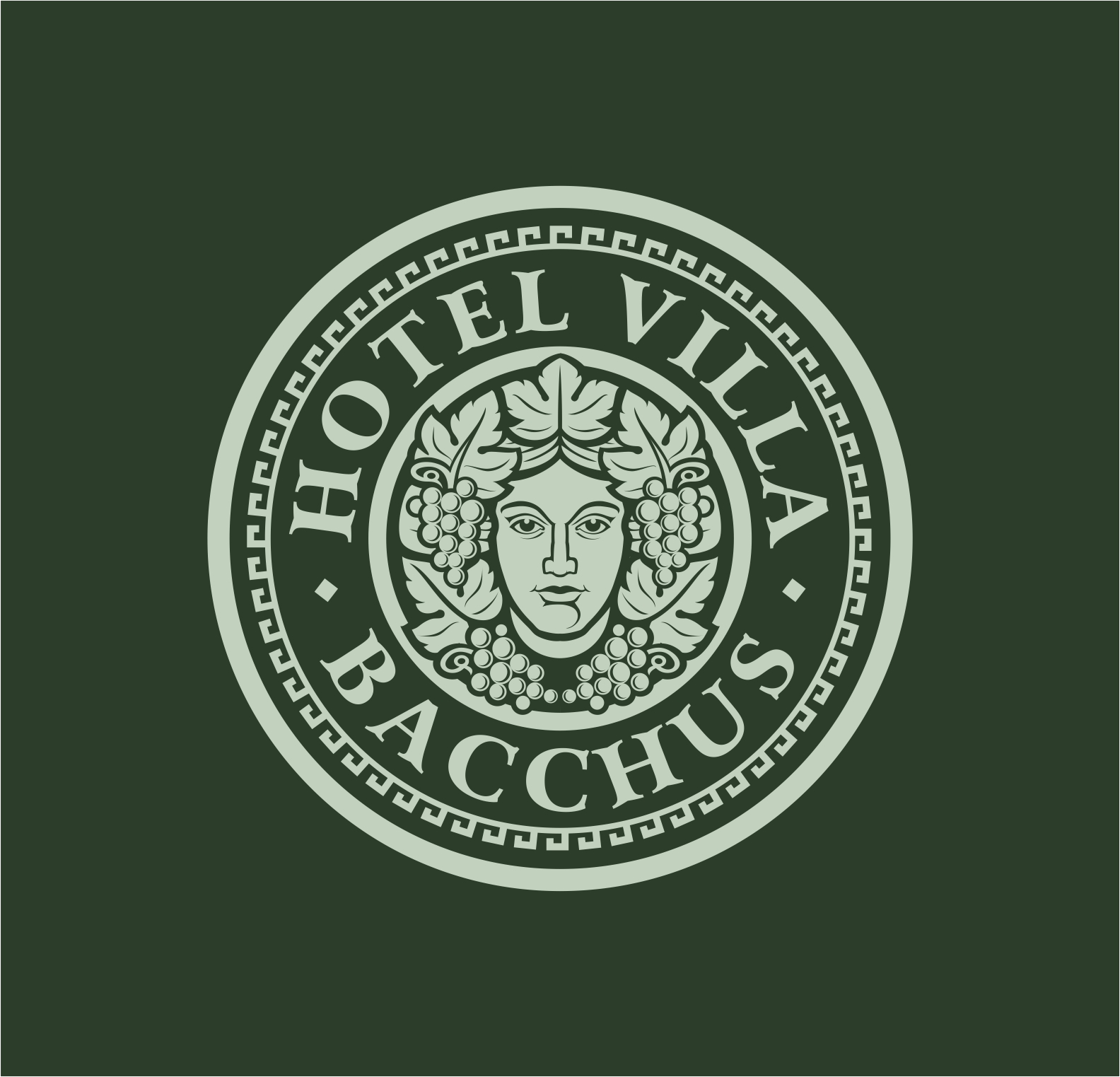 Bacchus logo crest.   Logotip s prikazom boga Bacchusa/Dionisa.