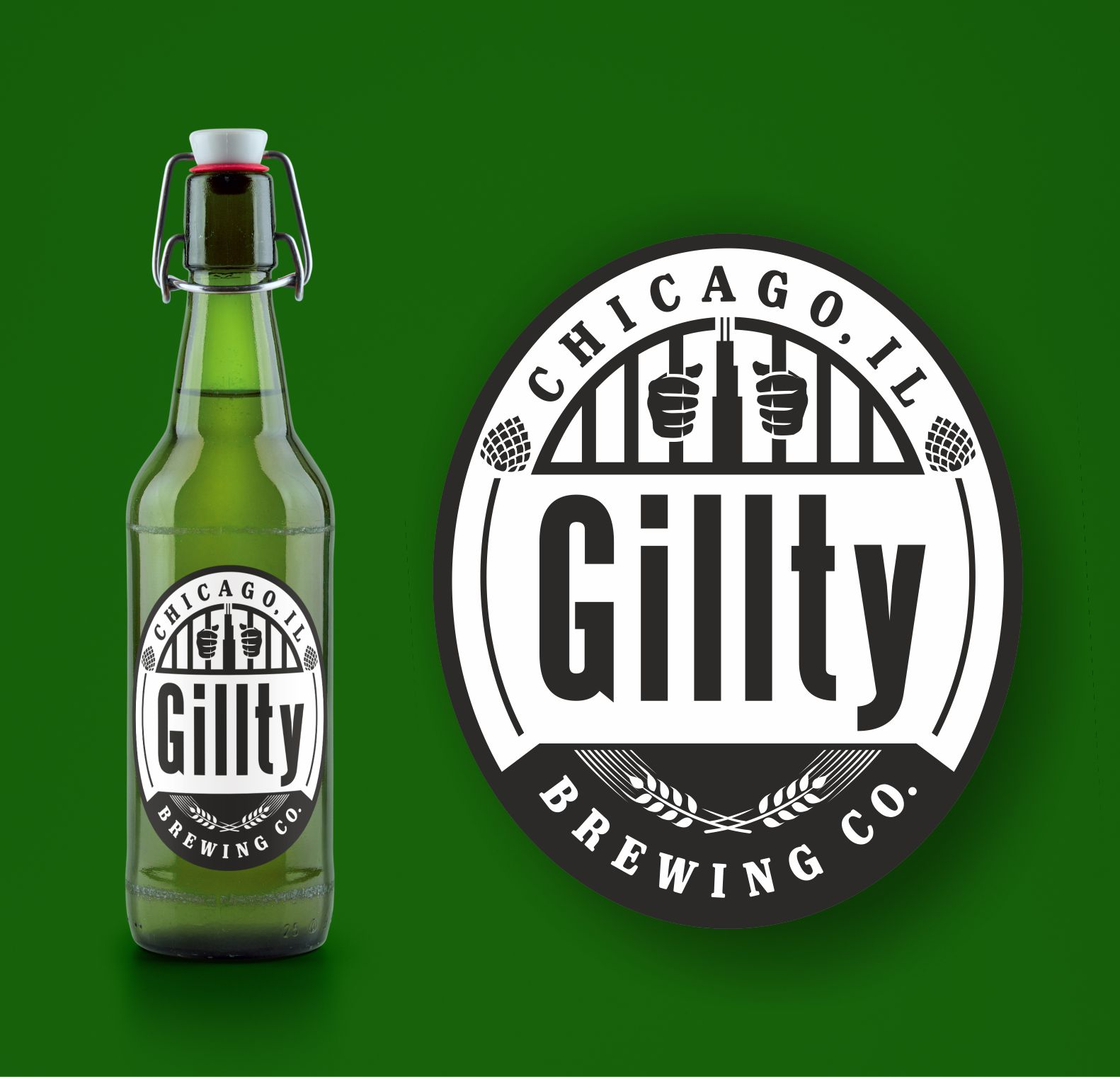 Logo crest and beer label.   Logotip u obliku grba i etiketa za pivo.