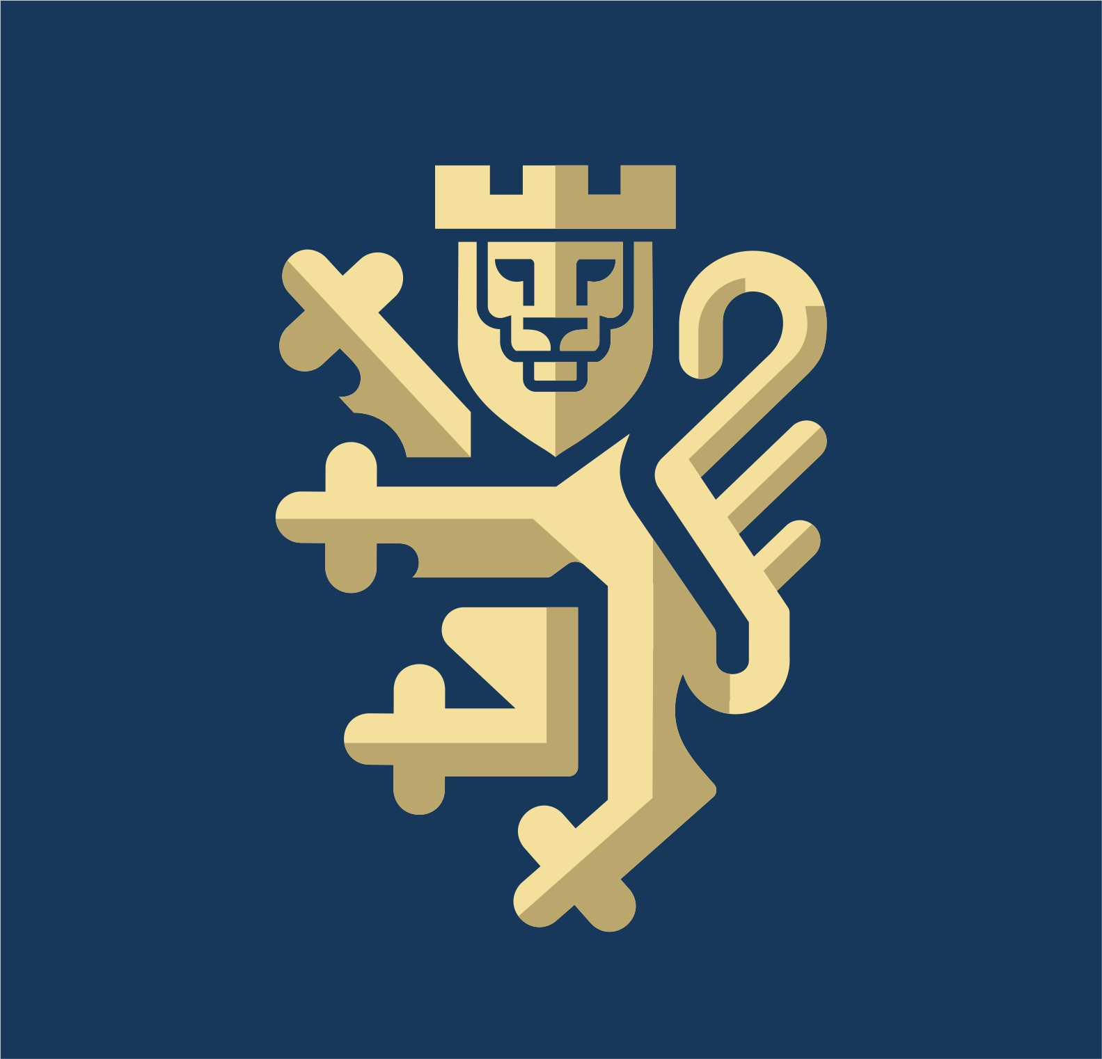 Modern lion logo heraldic crest.   Moderni logotip s motivom lava.