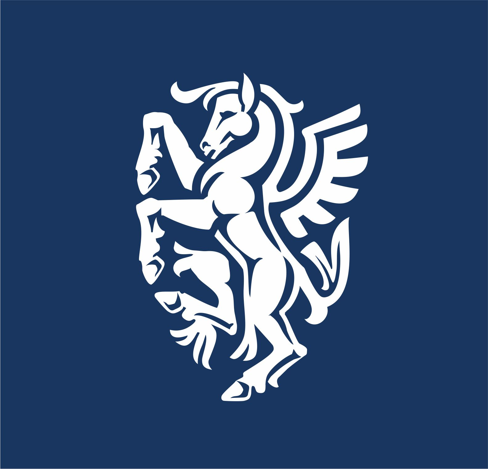 Pegasus crest logo in the shape of the shield.   Logotip s prikazom Pegaza u obliku štita.