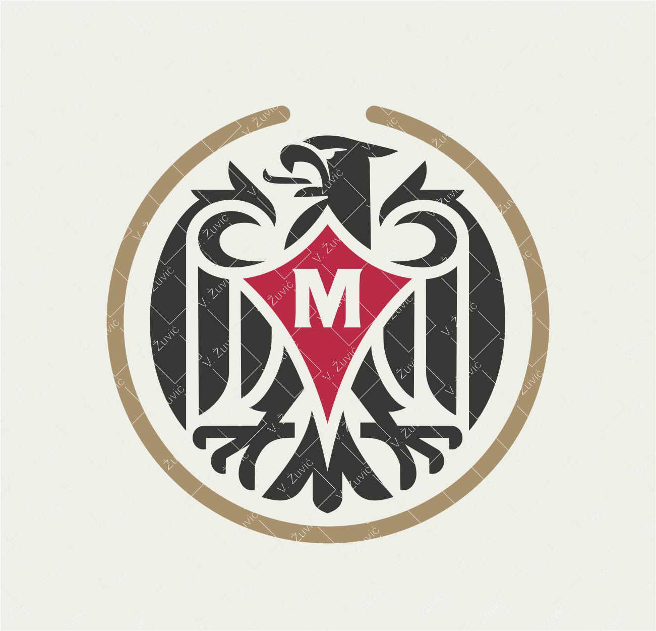 Logo is available for sale. Heraldic eagle logo design in the circle with initial letter M. It is possible to change the letter in the shield.   Logotip je dostupan za prodaju. Dizajn logotipa - heraldički orao u krugu s inicijalnim slovom M. Prema želji klijenta, moguće je promijeniti inicijalno slovu u štitu.