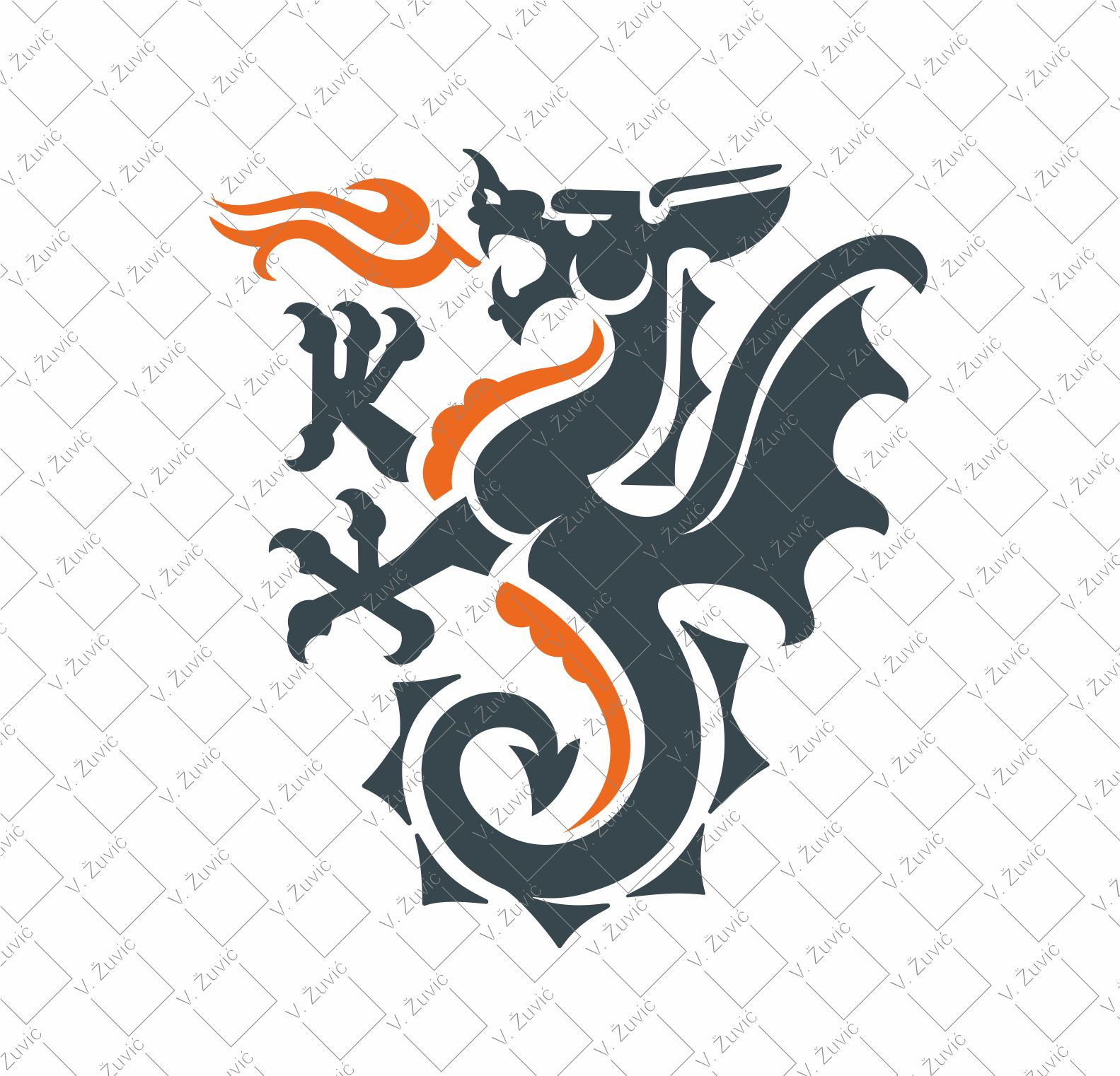 Logo is available for sale. Fire dragon logo design.   Logotip je dostupan za prodaju. Dizajn logotipa s motivom zmaja i vatre.