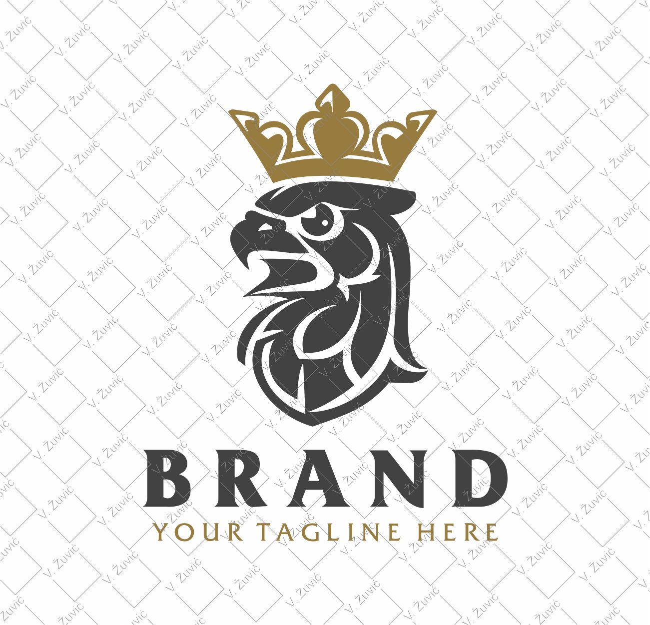 Logo is sold to the client. Crowned falcon head logo design.   Logotip je dostupan za prodaju. Dizajn logotipa s motivom okrunjene glave sokola.