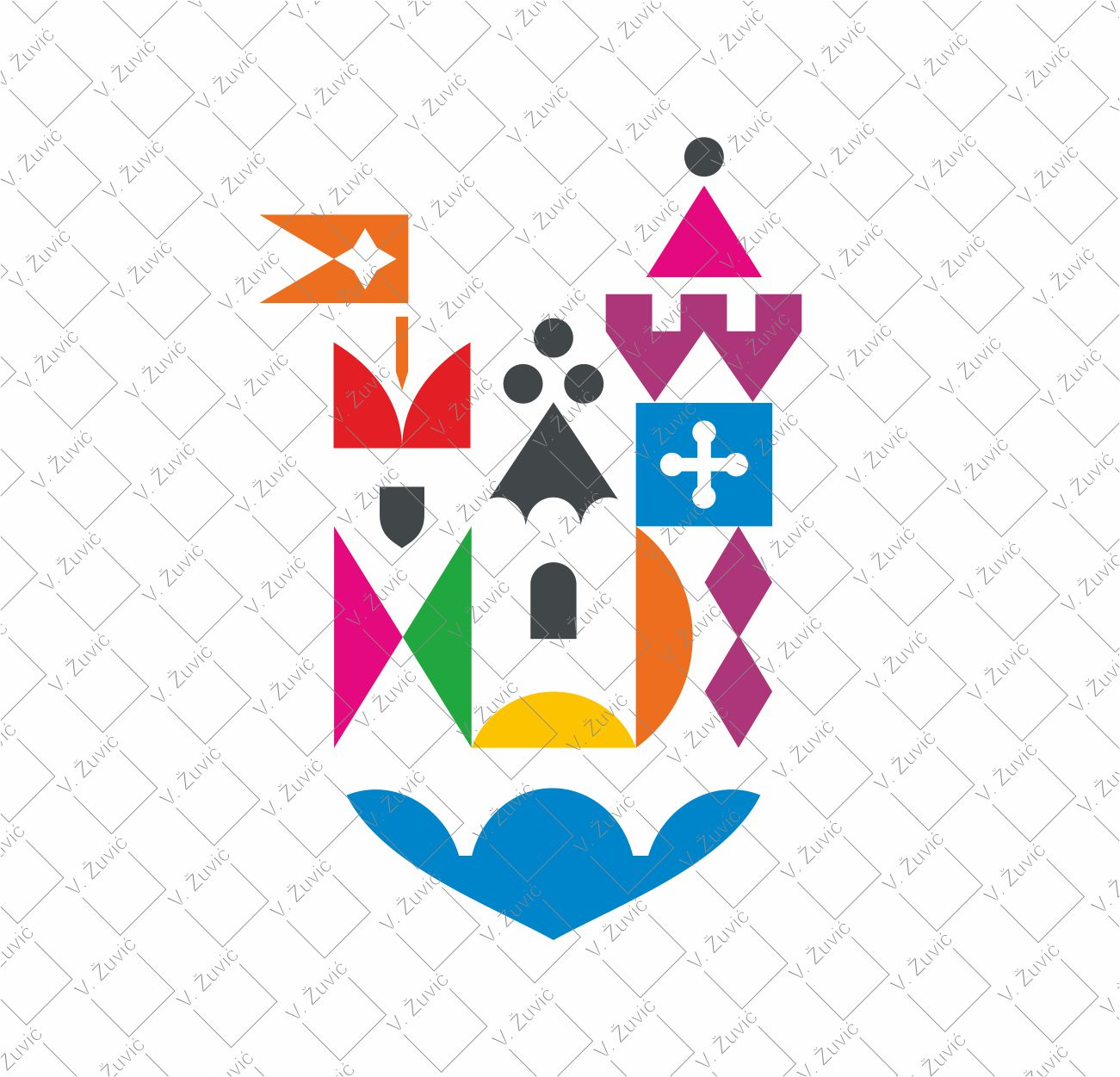 Logo is available for sale. Children medieval castle logo design.   Logotip je dostupan za prodaju. Dizajn logotipa - dječji zamak.