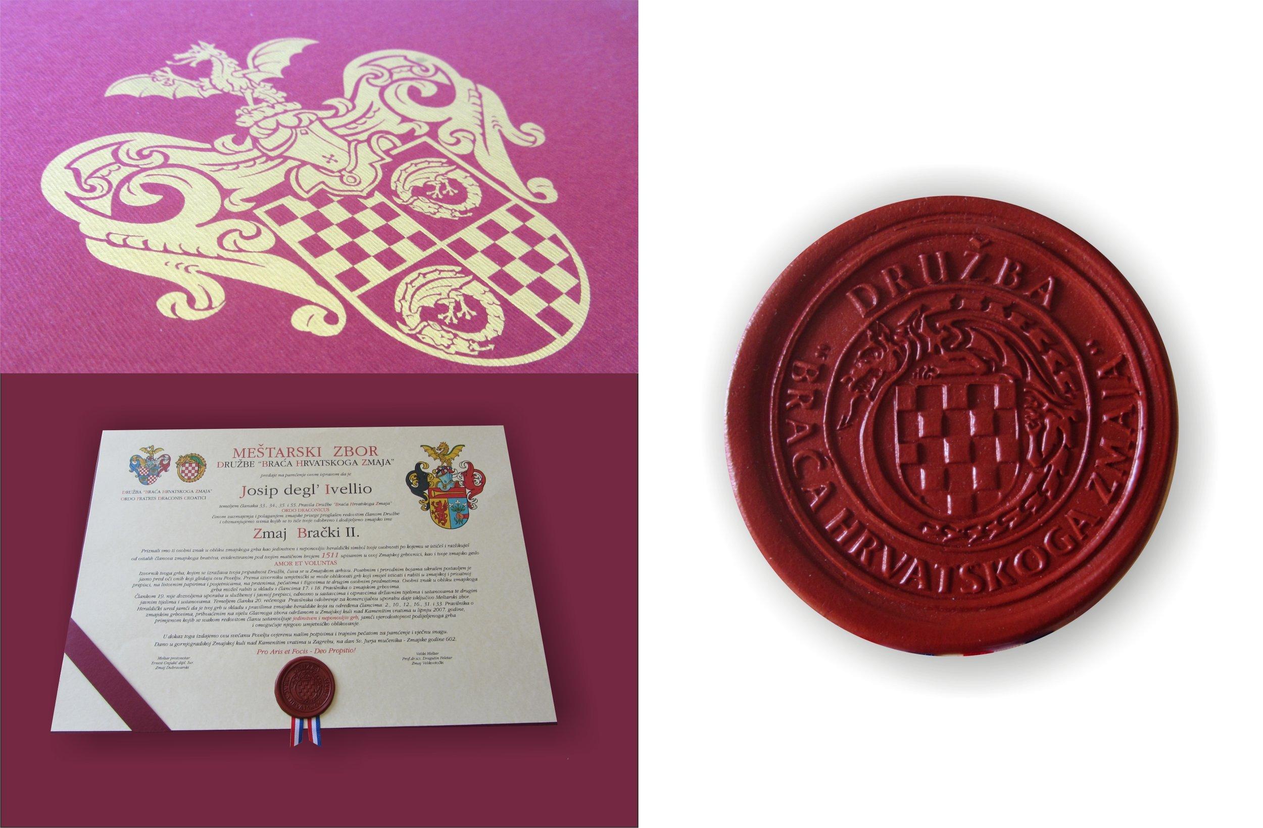 Diploma and seal design by Heraldic art d.o.o..   Dizajn diplome i pečata.