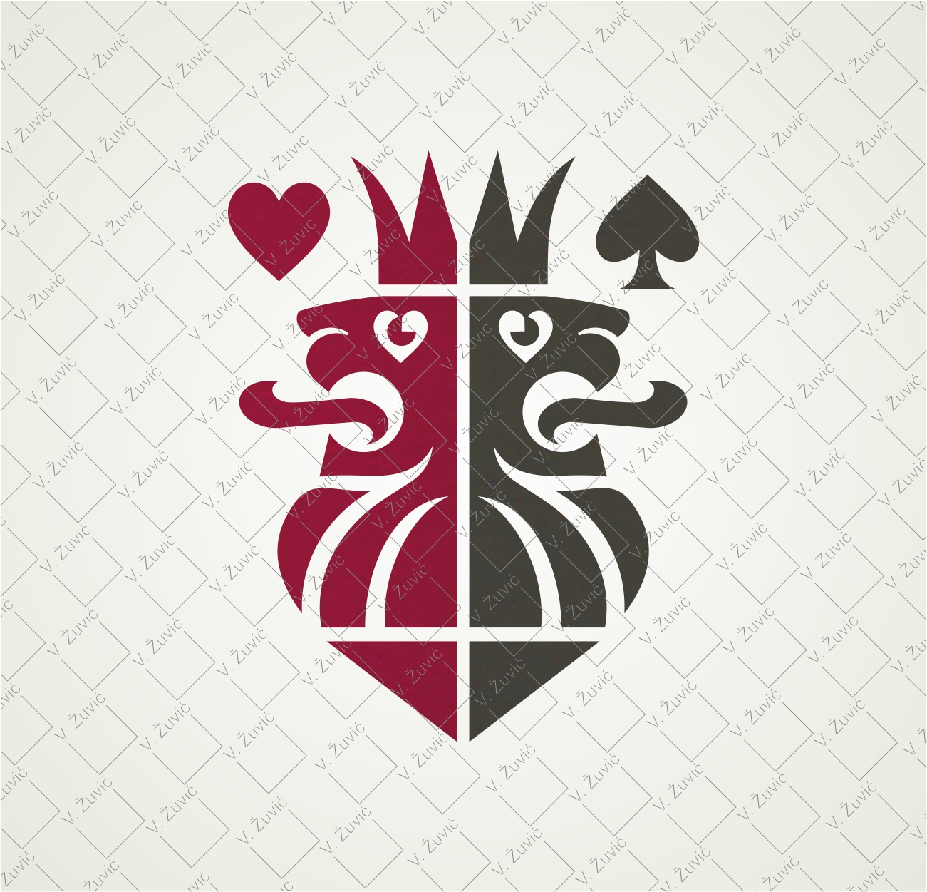 Logo is avilable for sale. Two crowned lions poker logo.   Logotip je dostpan za prodaju.Dizajn logotipa - dva okrunjena lava.