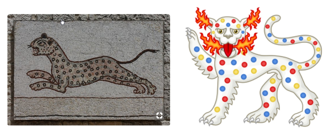 Left: Panther with spots on ancient mosaic. Source: https://www.flickr.com/photos/eusebius/4651062946/ Photo by Eusebius@Common  Right: Heraldic panther badge of Henry VI, shown with colored spots on its body. Source: https://commons.wikimedia.org/wiki/File:Panther_Badge_of_Henry_VI.svg Design by Sodacan