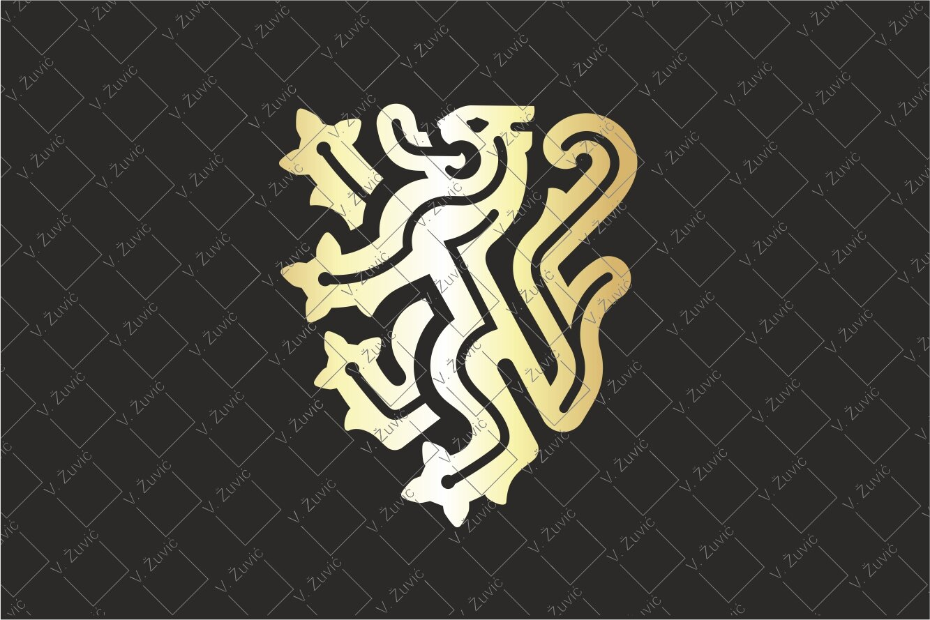 Gold Heraldic Lion Logo Crest is available for sale.