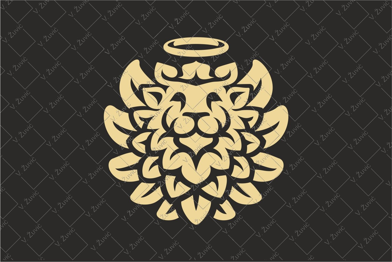 Logo is available for sale. Winged lion logo in the circle design looking at aureola above.