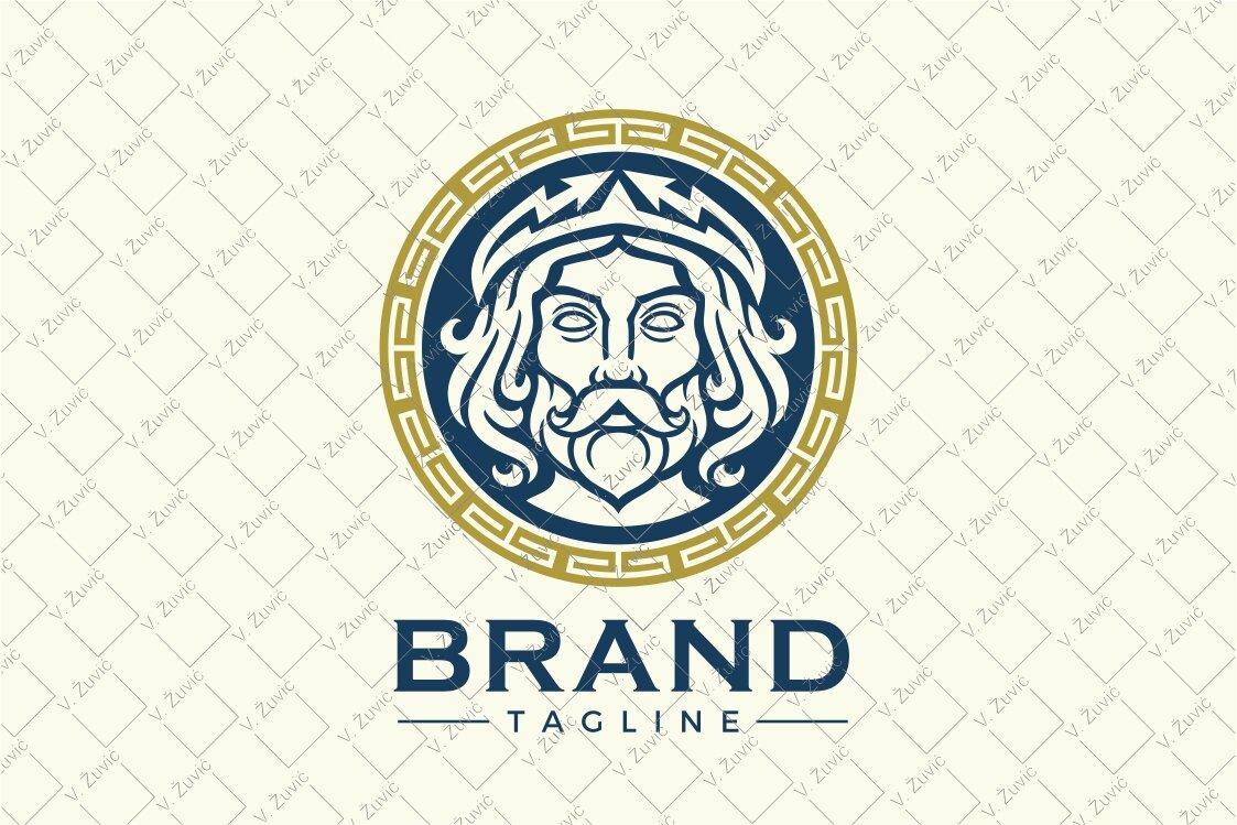 Zeus / Jupiter logo design in circular shape with Greek ornament around it. Logo is available for sale.