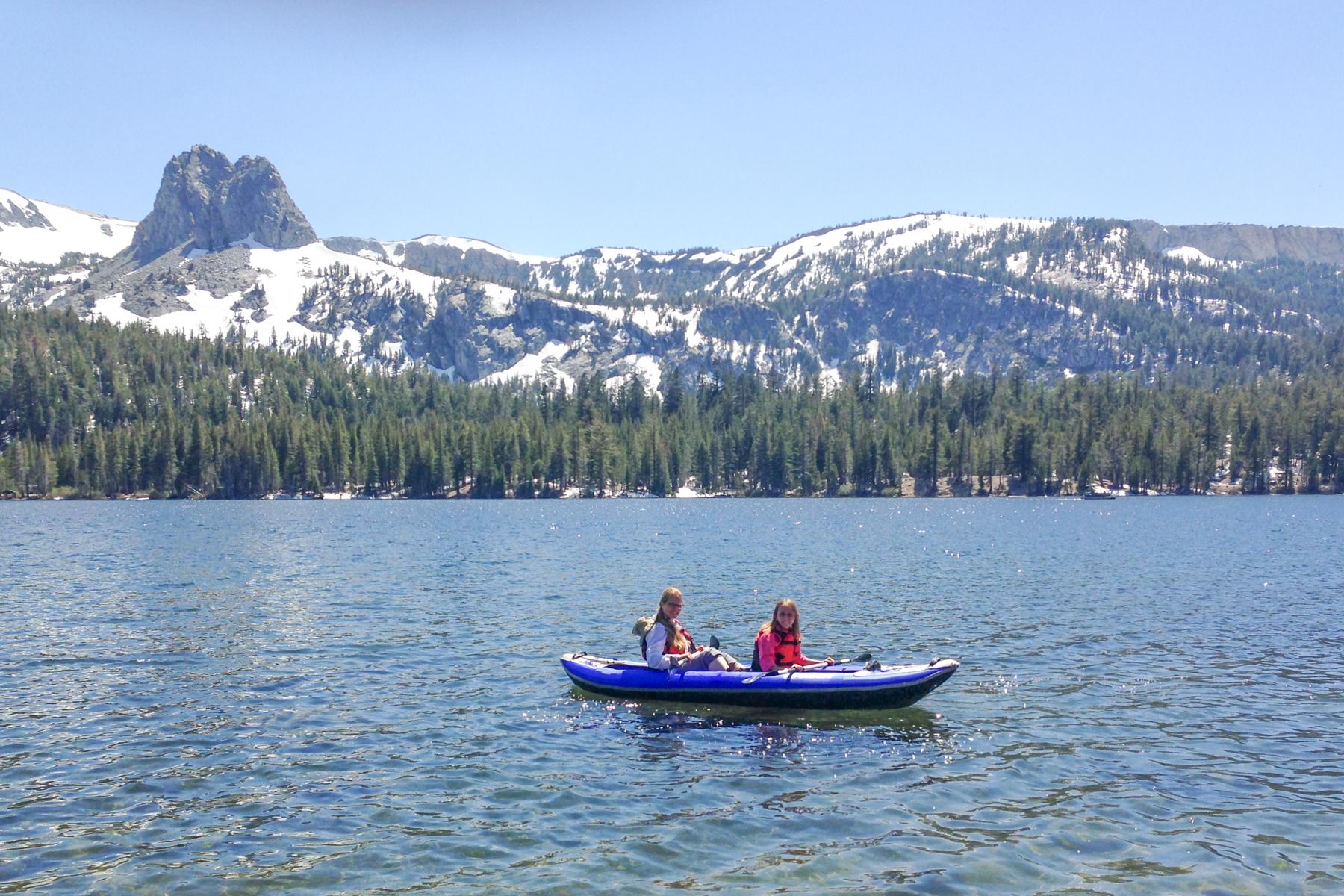 Sonja kayaking with Hana on Lake Mary. Mammoth Lakes, CA