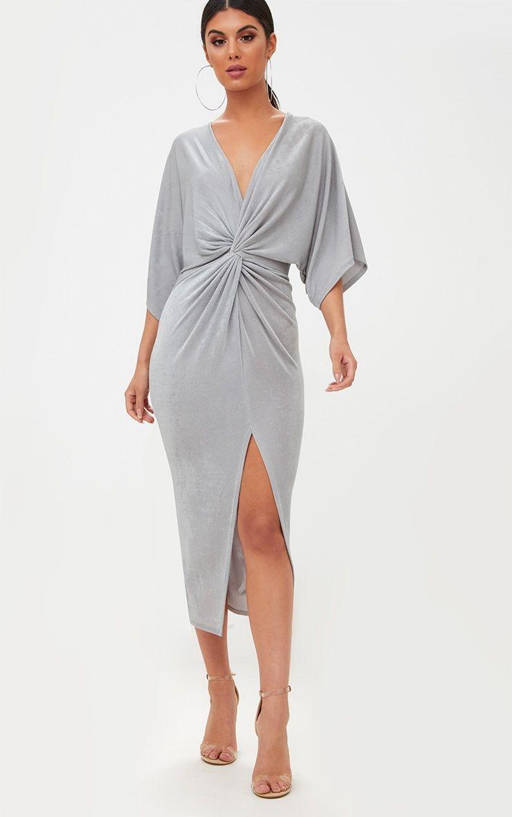 Ice Grey Slinky Kimono Dress