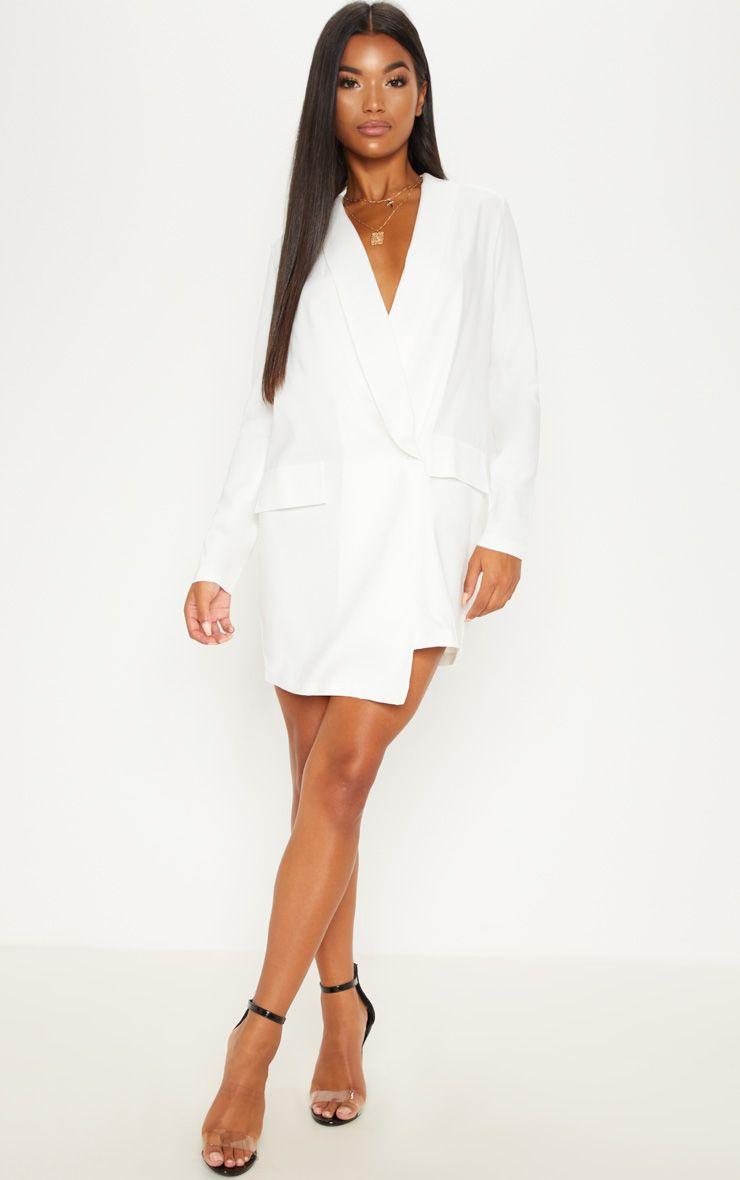 White Oversized Blazer Dress