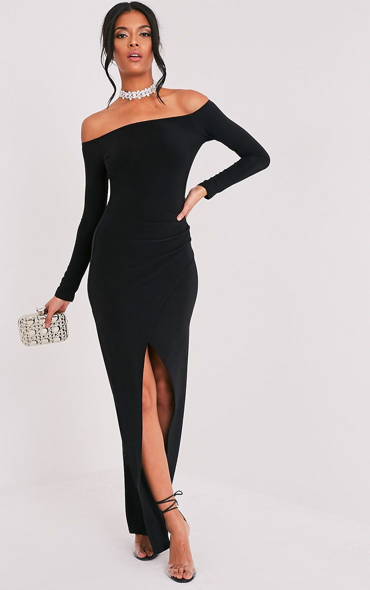 Sharlotte Black Slinky Wrap Dress
