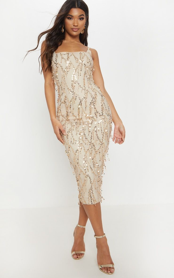 Gold Tassle Sequin Midi Dress