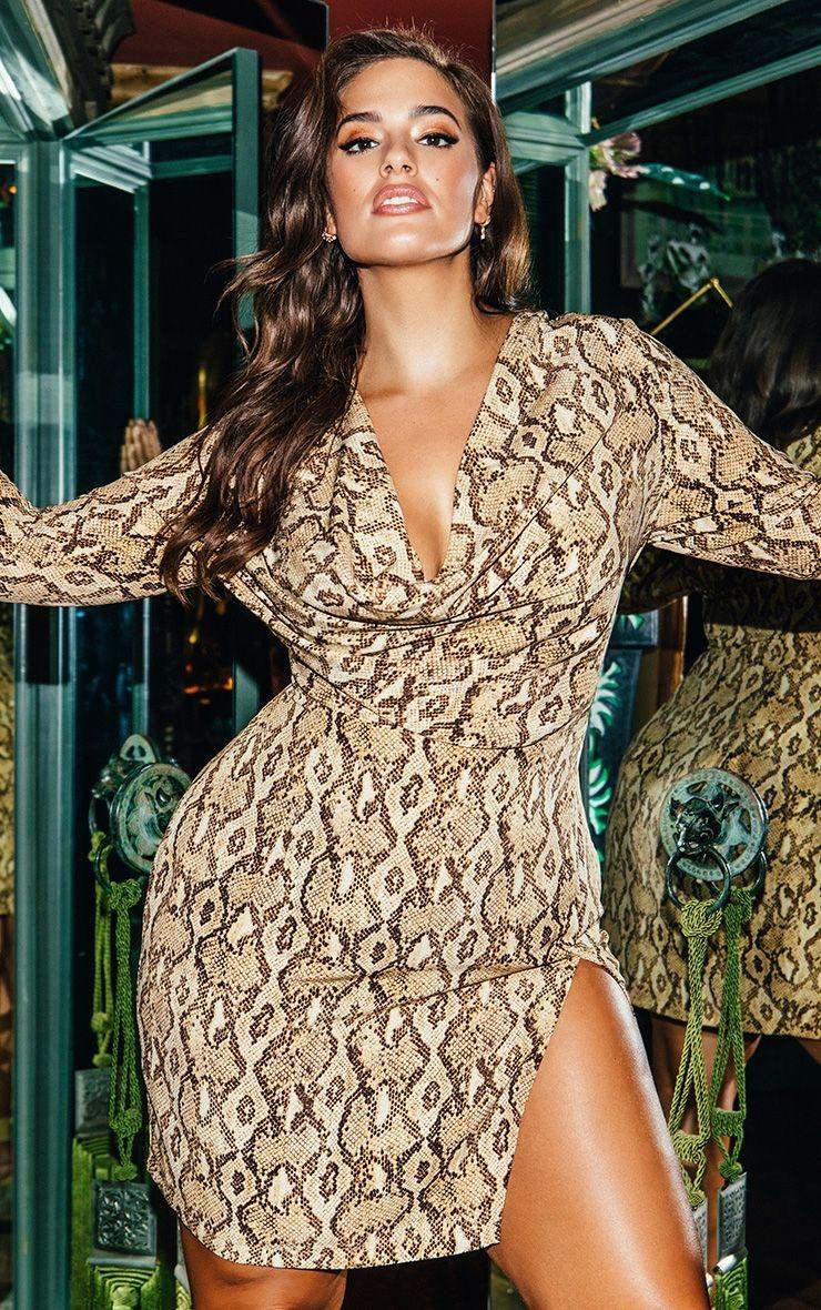 Snake Print Bodycon Dress