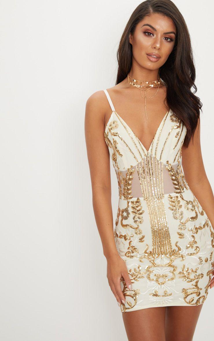 Gold Sheer Bodycon Dress