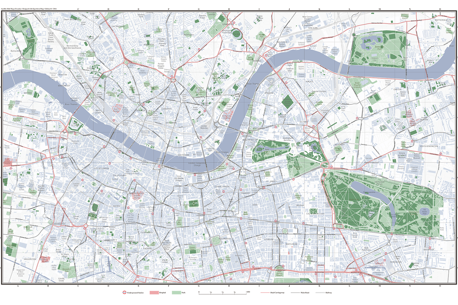 Satellite Map of London - A map for navigating with satellite dishes