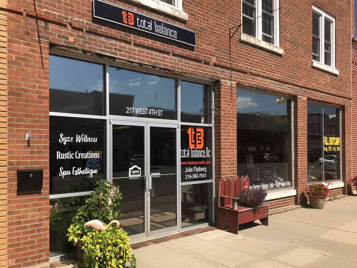Total Balance is located at 217 W. 4th Street in downtown Vinton, Iowa