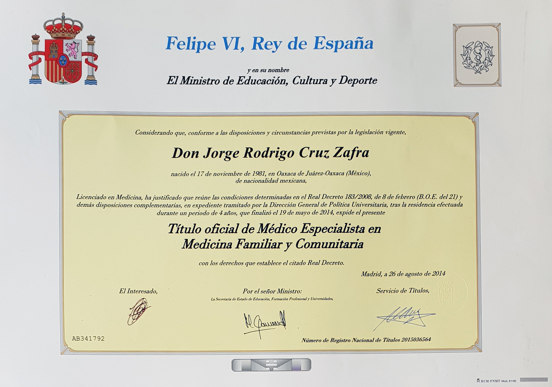 General Practitioner title from Spain