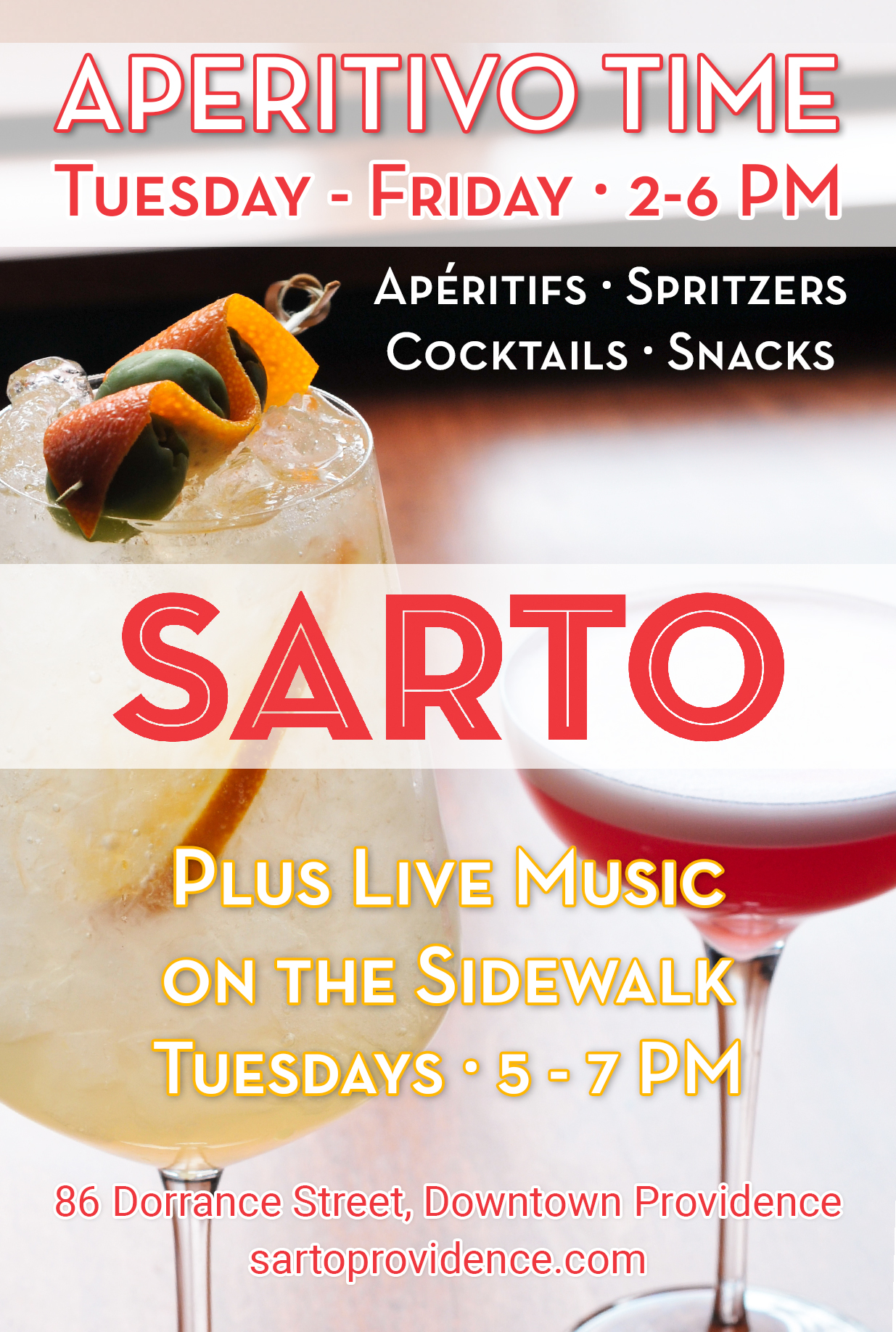 - Indulge on the Italian tradition of Aperitivo, one of the most important culinary rituals in Italy, at Downtown Providence's neighborhood bar. On Tuesdays - Fridays, visit Sarto from 2 - 6 PM and enjoy expertly crafted cocktails, spritzers, aperitifs, and snacks. Aperitivo time is meant for relaxing with friends post-work, and pre-dinner. On Tuesdays from 5 - 7 PM, we also feature live music by the incomparable Billy Musto! Come see how Aperitivo Time can turn your lethargic post-work hours into something to look forward to.