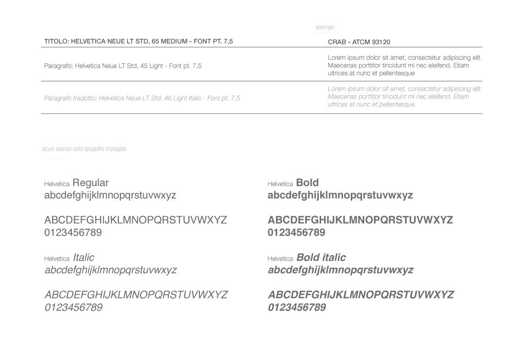 ↑  Fig.7  Tipografia impiegata nel catalogo.