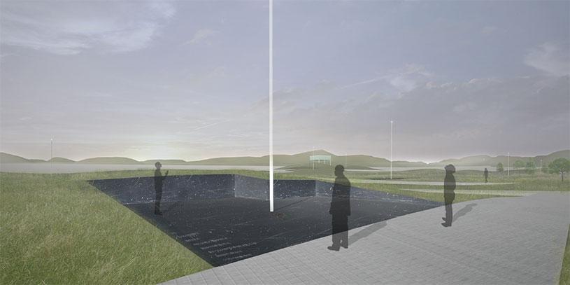 Memorial Park: footprints of former buildings converted into memorial spaces.