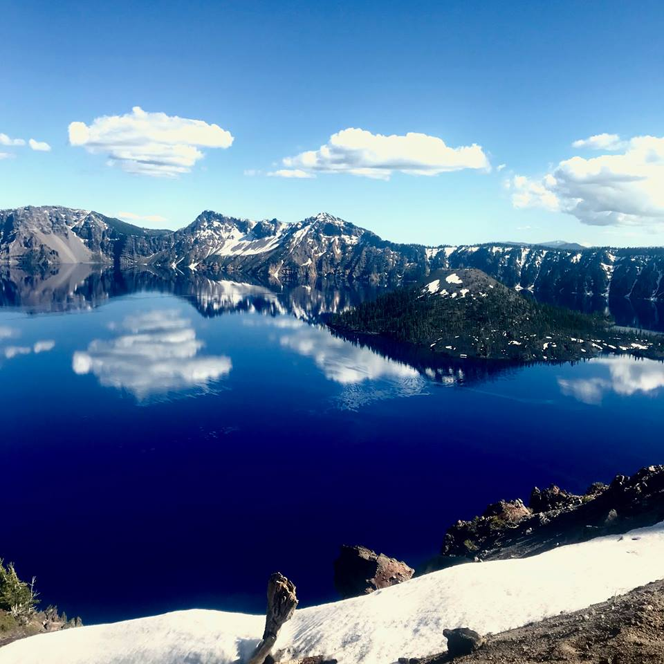 Our beautiful view of Crater Lake, a little before summer season.