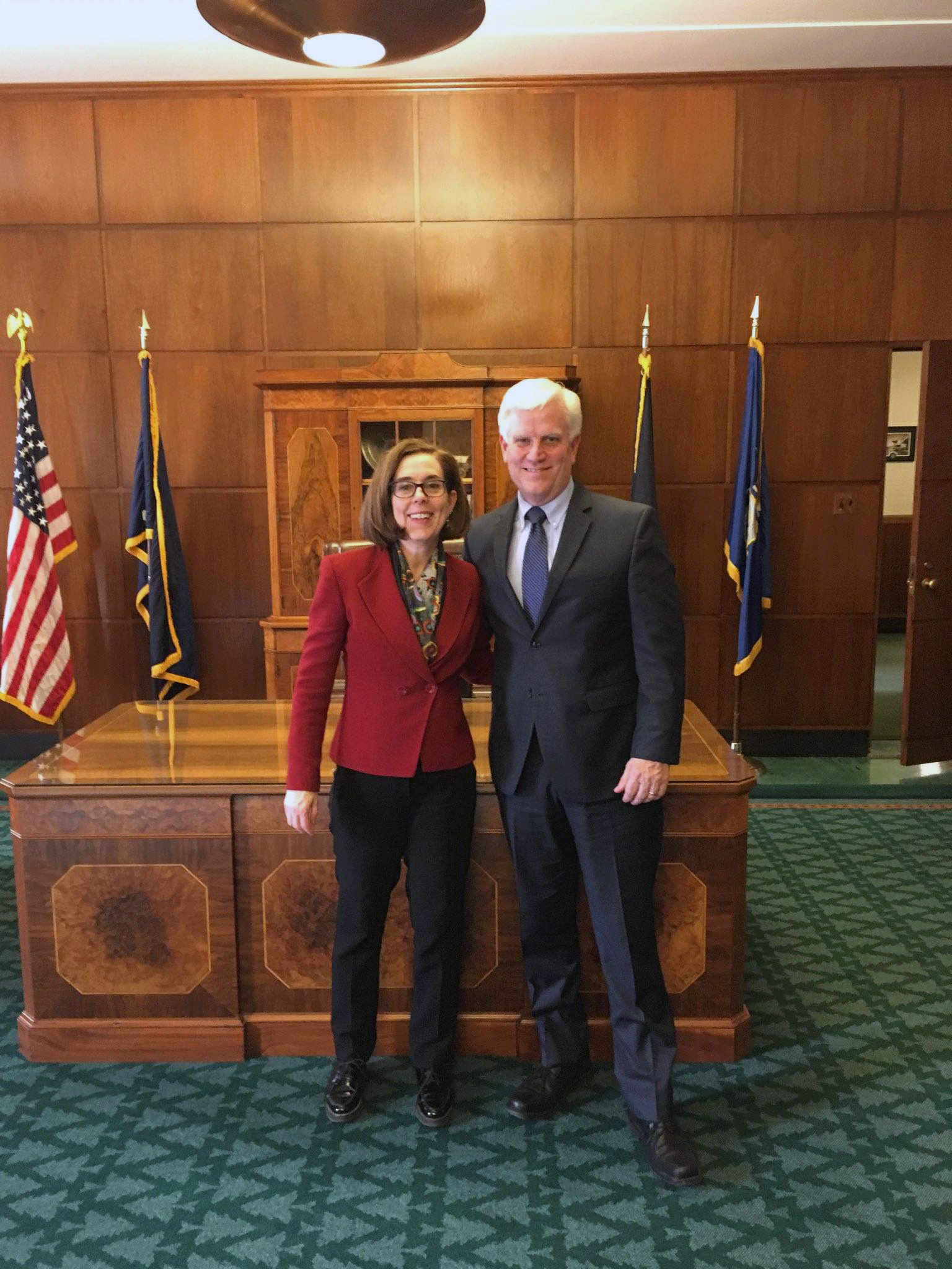 Rand O'Leary pictured here with Oregon Governor Kate Brown