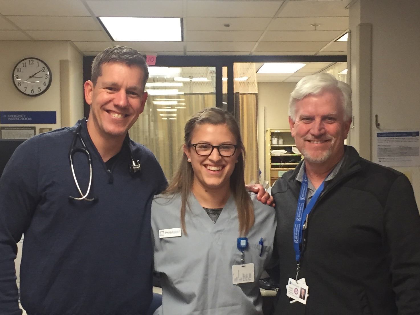 Rand O'Leary with Emergency Room Director Dr. Scott Williams and new Medical Scribe Emily.