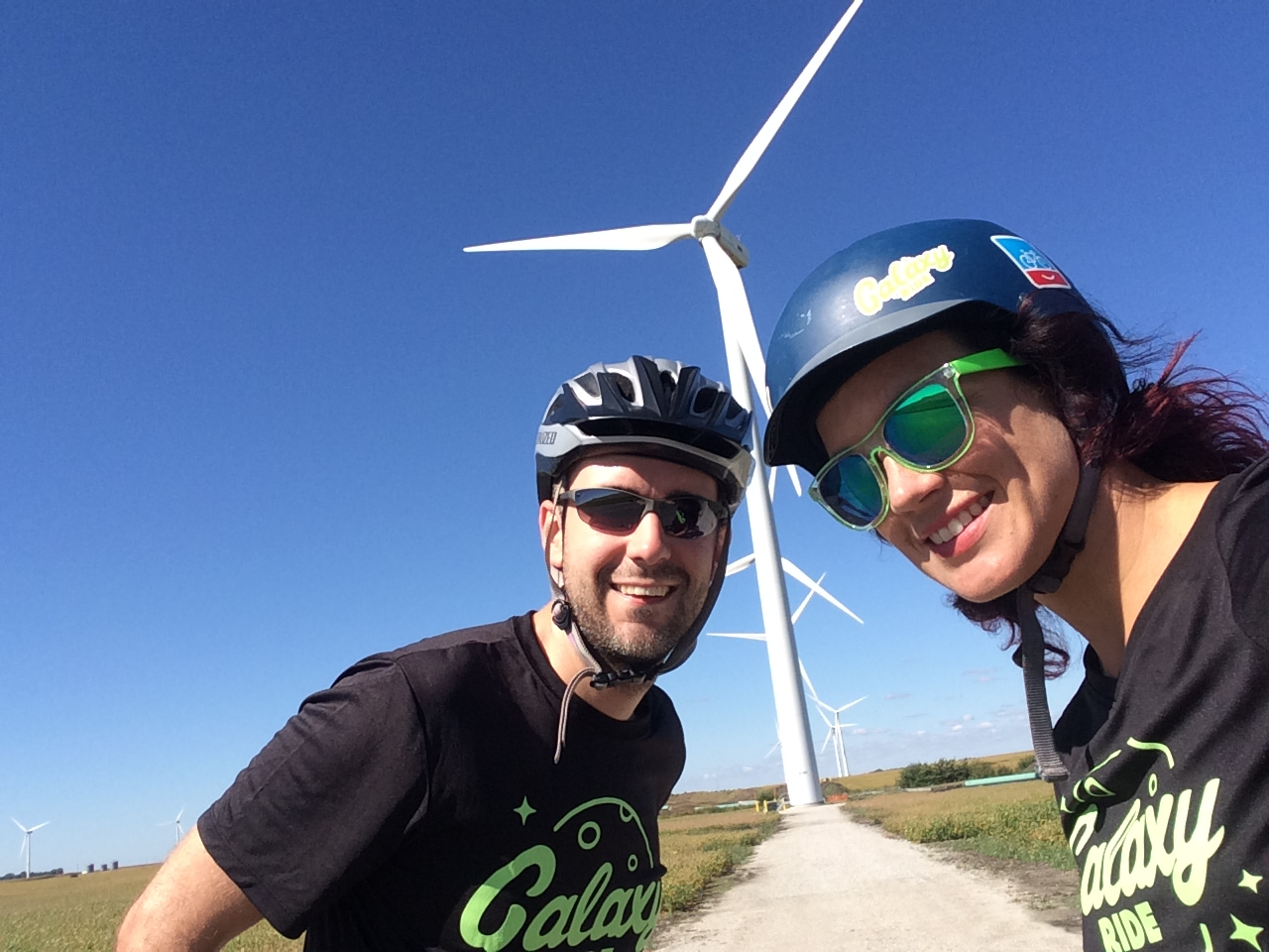Cyclists beware: while wind turbines look cool, they also sometimes mean headwind.