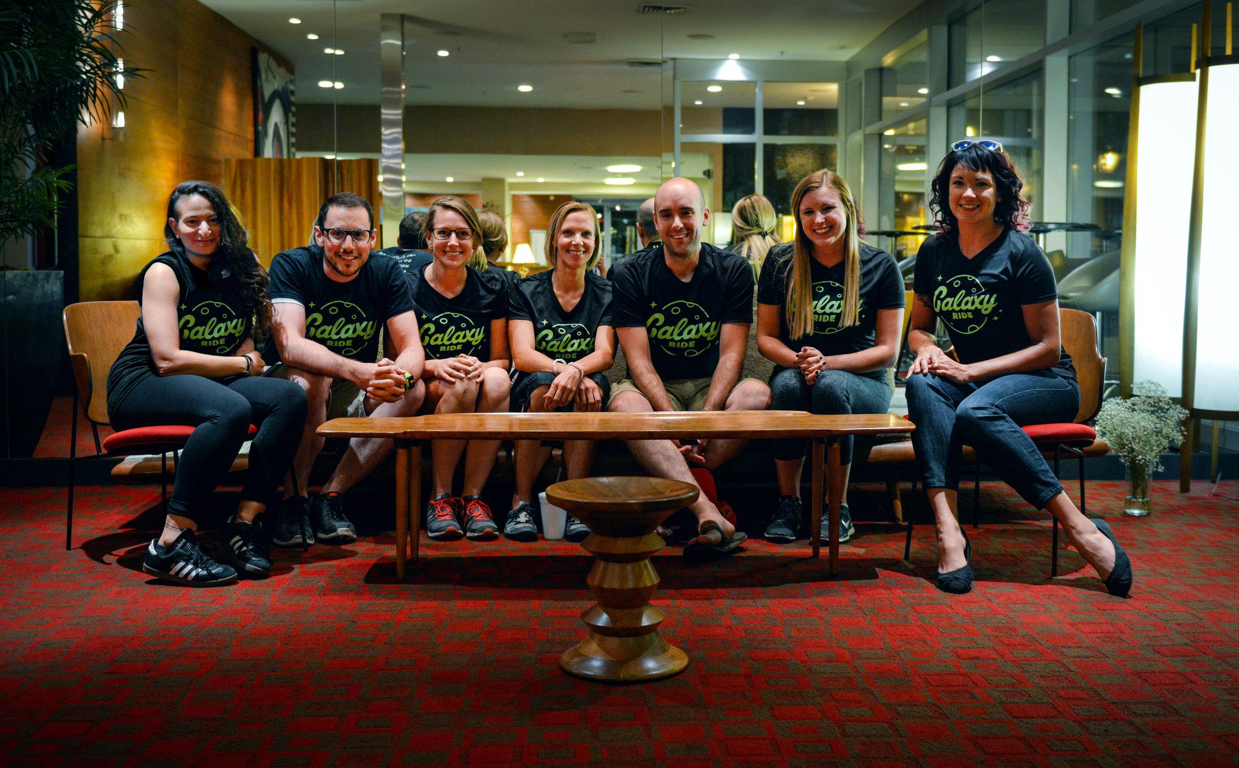 Team Galaxy Ride (L to R): Leila Makdisi, David Miller, Taryn Mason, Colleen Incandela, Kyle Sater, Christina O'Connell, and me. Photo credit: David Miller