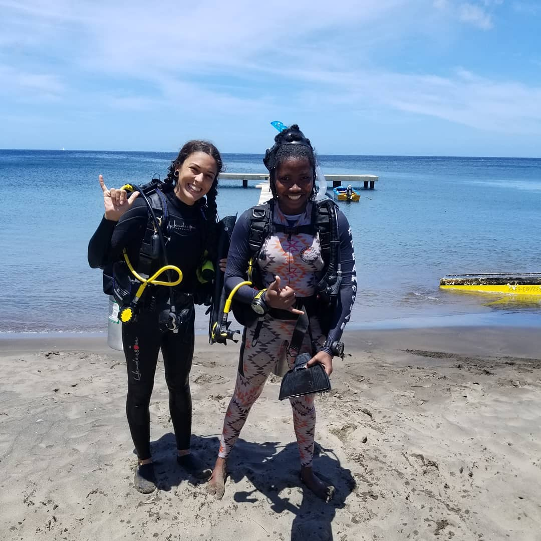 Kayla & Alisha on Toucari Beach after her final Open Water Dive for her PADI Certification