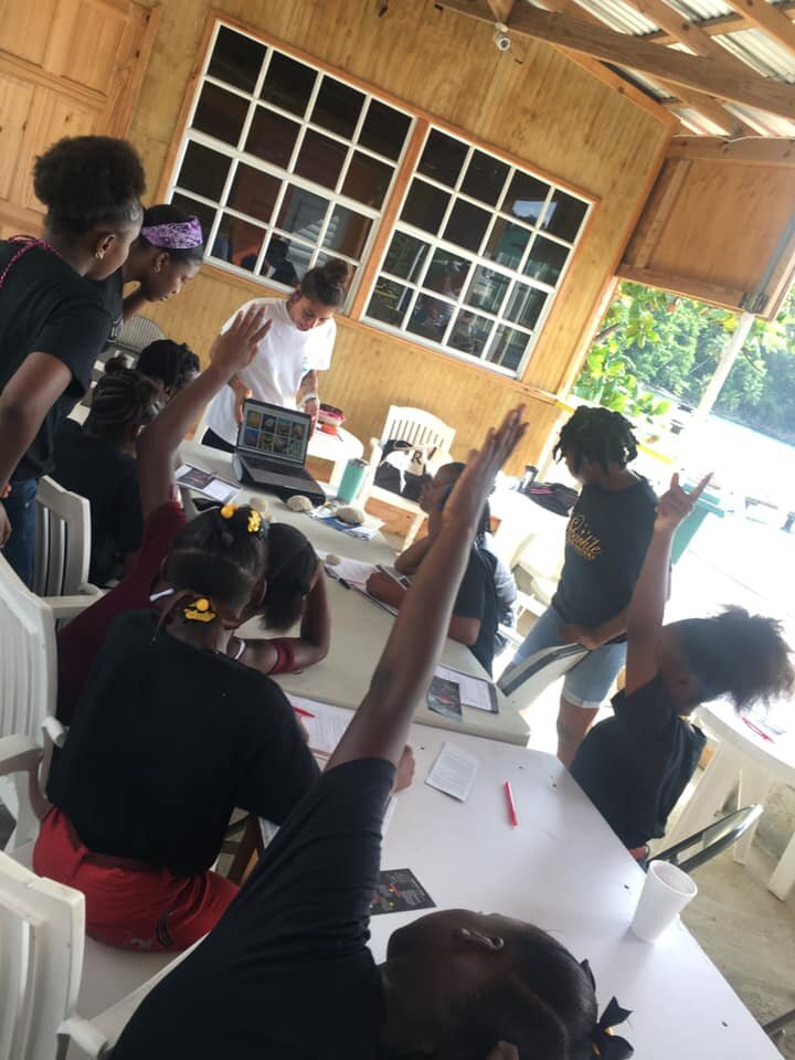 kayla teaches coral conservation project aware coral identification workshop salt dominica.jpg