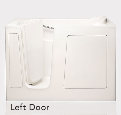 """Dimensions (L/W/H):  53"""" x 26"""" x 36""""   Tub Extension Panel:  7"""" extension panel included (to fit a 60"""" space)  Seat Height:  17""""  Seat Dimensions (L/W/H):  14"""" x 20.5"""" x 17""""  Water Fill:  45 gallons  *Right Door Available"""