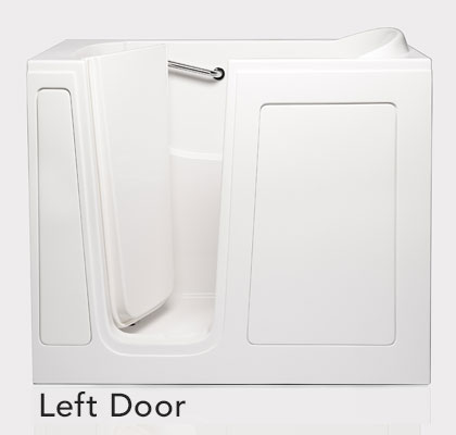 """Dimensions (L/W/H):  52"""" x 28"""" x 40""""   Tub Extension Panel:  7"""" extension panel included (to fit a 60"""" space)   Seat Height : 17""""  Seat Dimensions (L/W/H):  12"""" x 23.5"""" x 17""""  Water Fill:  45 gallons  *Right Door Available"""
