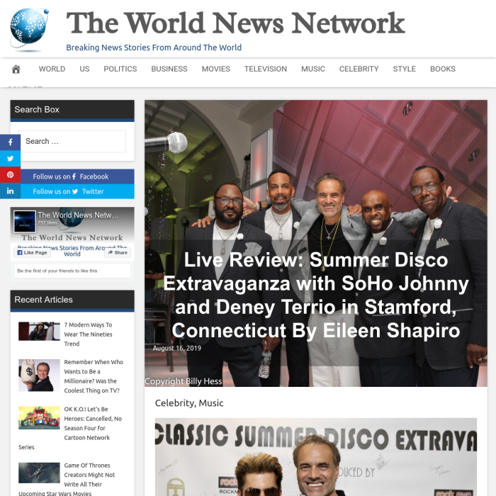 The World News Network - Live Review: Summer Disco Extravaganza with SoHo Johnny and Deney Terrio in Stamford, Connecticut