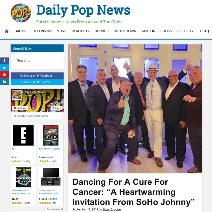 "Daily Pop News - Dancing For A Cure For Cancer: ""A Heartwarming Invitation From SoHo Johnny"""