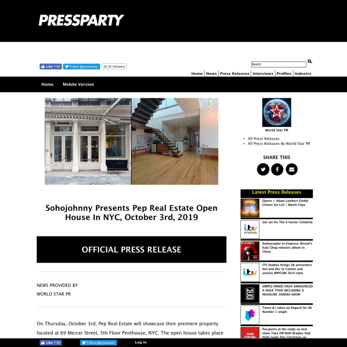 Pressparty.com - Sohojohnny Presents Pep Real Estate Open House In NYC, October 3rd, 2019